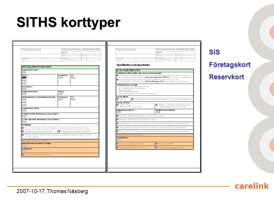 SITHS korttyper SIS Företagskort Reservkort 2007-10-17, Thomas Näsberg