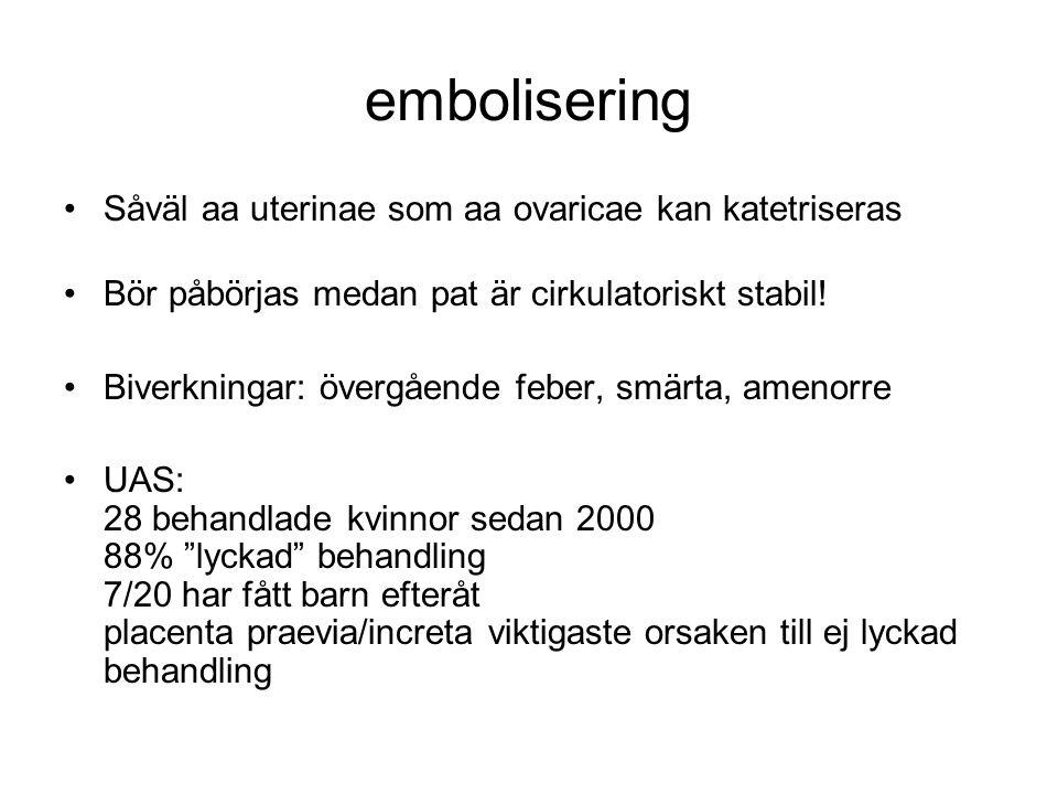 embolisering Såväl aa uterinae som aa ovaricae kan katetriseras