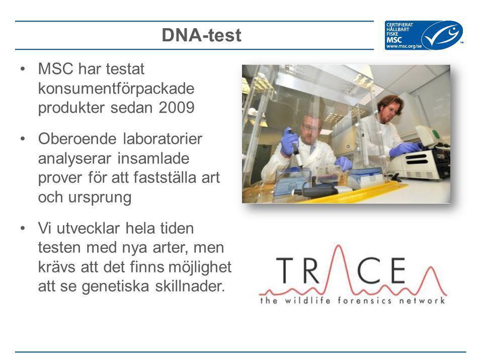 DNA-test MSC har testat konsumentförpackade produkter sedan 2009