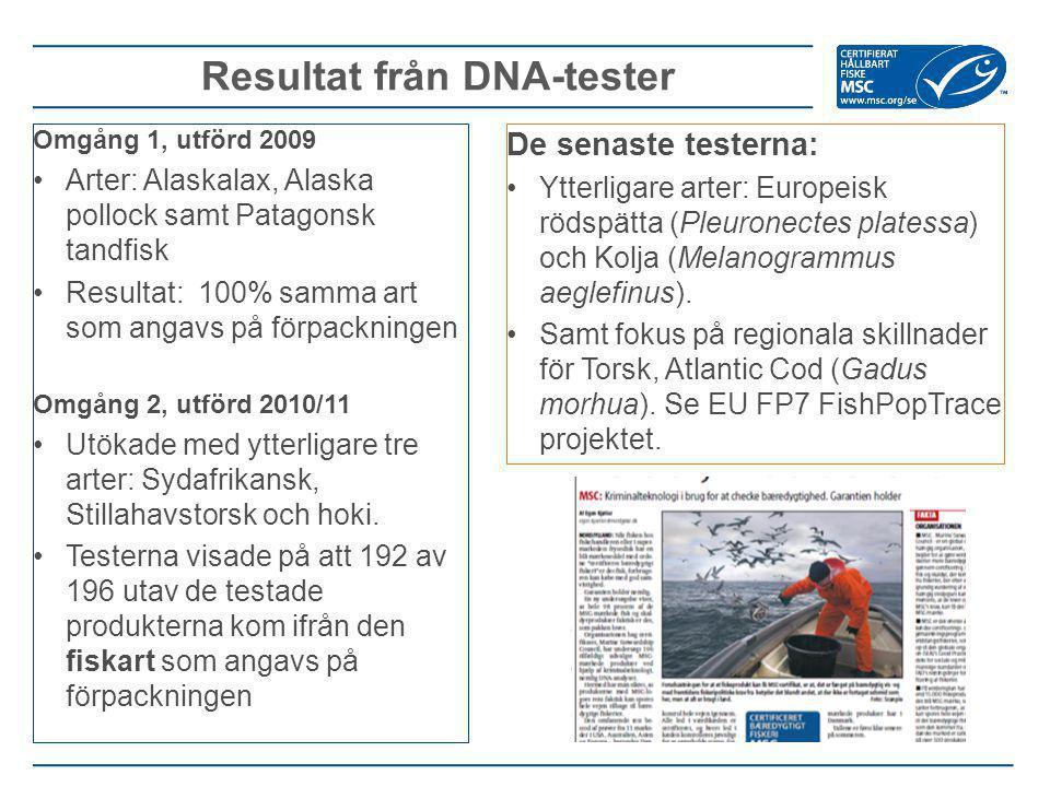 Resultat från DNA-tester