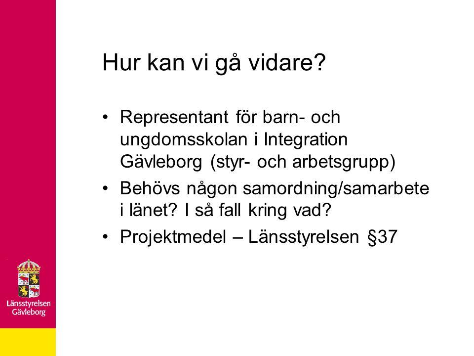 Hur kan vi gå vidare Representant för barn- och ungdomsskolan i Integration Gävleborg (styr- och arbetsgrupp)