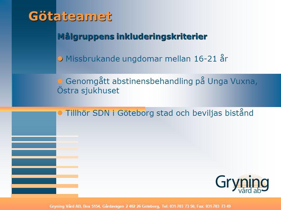 Götateamet Målgruppens inkluderingskriterier
