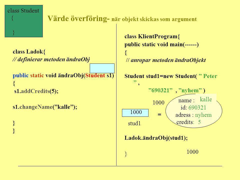 Värde överföring- när objekt skickas som argument