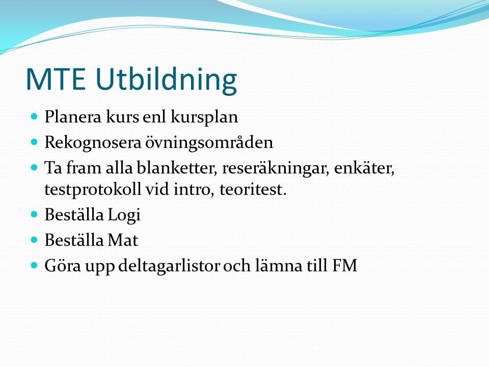 MTE Utbildning Planera kurs enl kursplan Rekognosera övningsområden