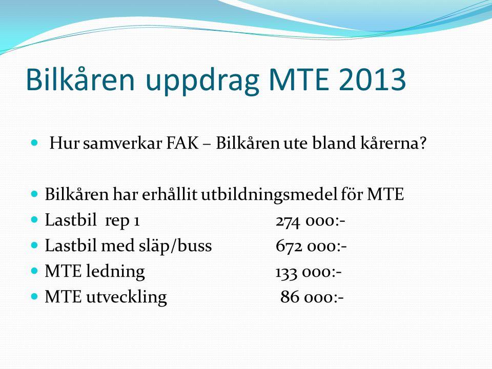 Bilkåren uppdrag MTE 2013 Hur samverkar FAK – Bilkåren ute bland kårerna Bilkåren har erhållit utbildningsmedel för MTE.