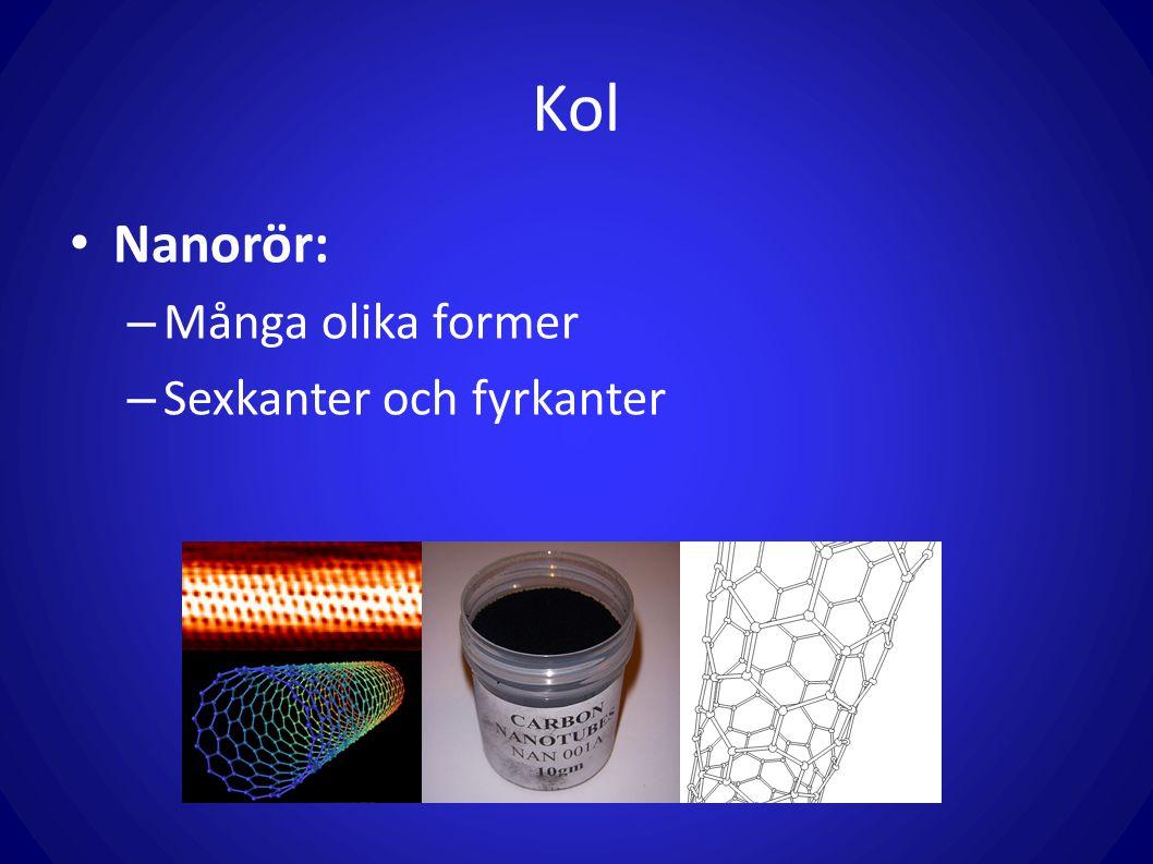 Kol Nanorör: Många olika former Sexkanter och fyrkanter