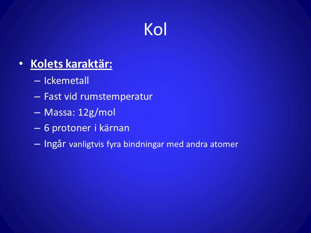 Kol Kolets karaktär: Ickemetall Fast vid rumstemperatur Massa: 12g/mol