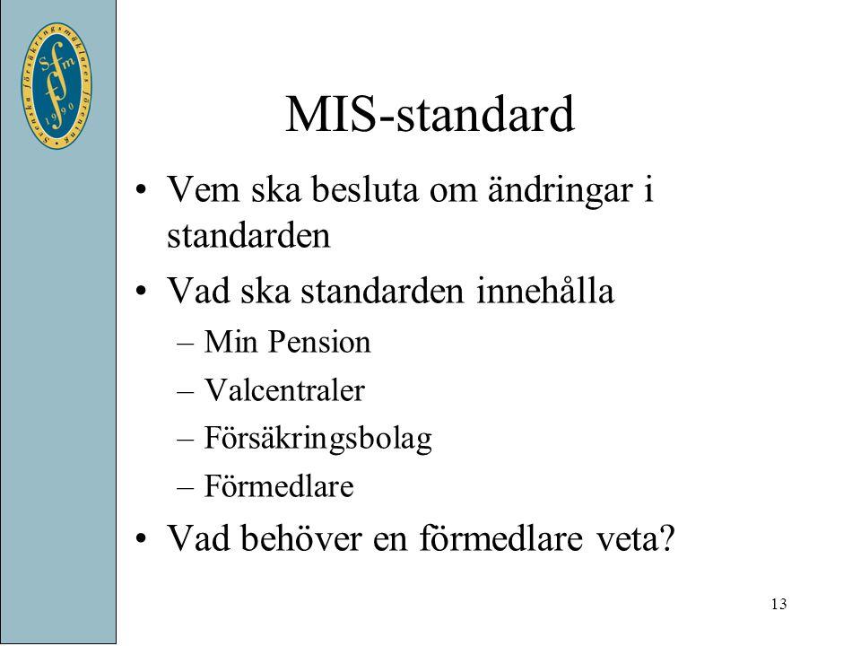 MIS-standard Vem ska besluta om ändringar i standarden