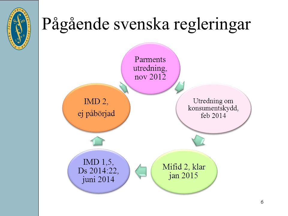 Pågående svenska regleringar