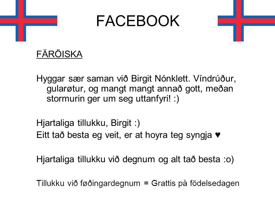 FACEBOOK FÄRÖISKA. Hyggar sær saman við Birgit Nónklett. Víndrúður, gularøtur, og mangt mangt annað gott, meðan stormurin ger um seg uttanfyri! :)