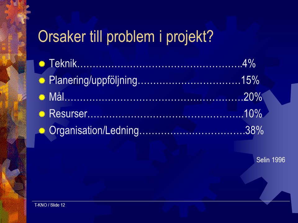 Orsaker till problem i projekt