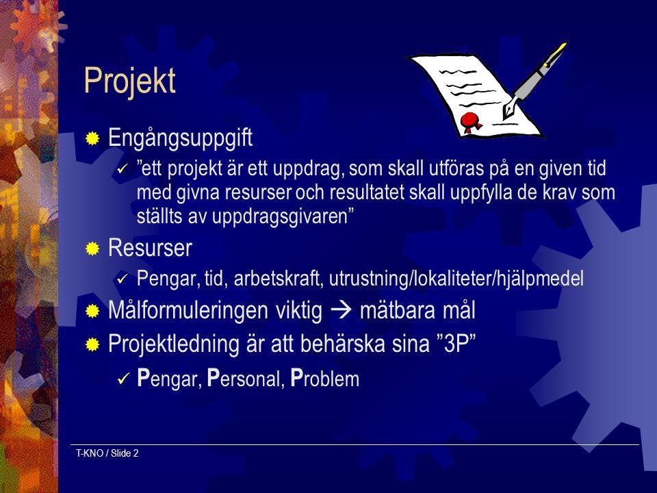 Projekt Engångsuppgift Resurser Målformuleringen viktig  mätbara mål