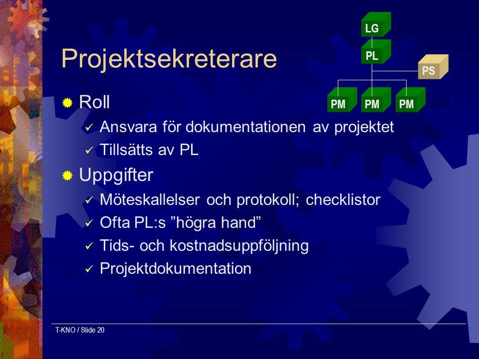 Projektsekreterare Roll Uppgifter