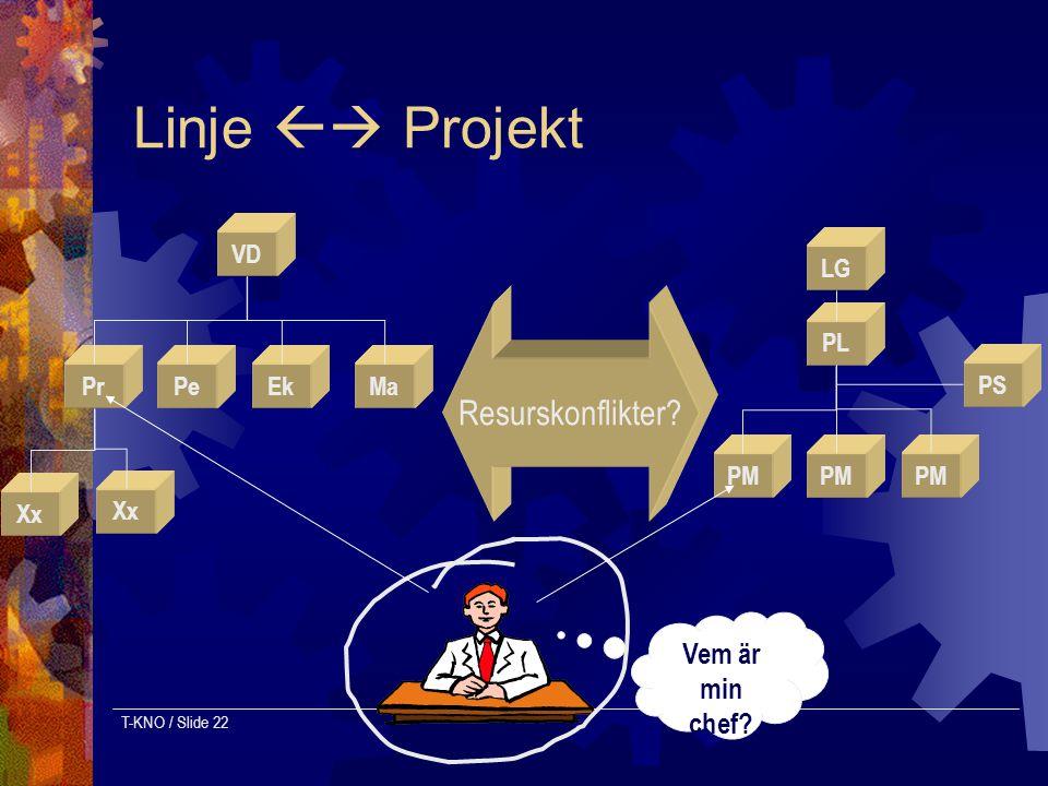 Linje  Projekt Resurskonflikter Vem är min chef VD PL Ek Pr Pe Ma
