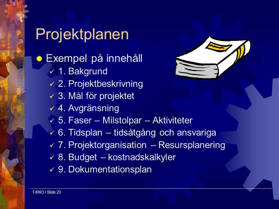 Projektplanen Exempel på innehåll 1. Bakgrund 2. Projektbeskrivning