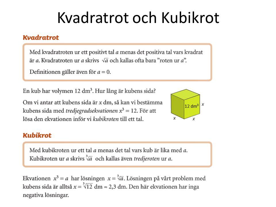 Kvadratrot och Kubikrot