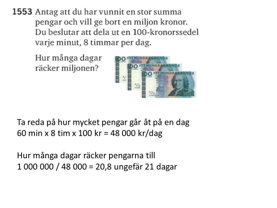Ta reda på hur mycket pengar går åt på en dag