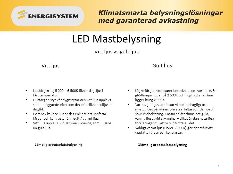 LED Mastbelysning Vitt ljus vs gult ljus Vitt ljus Gult ljus