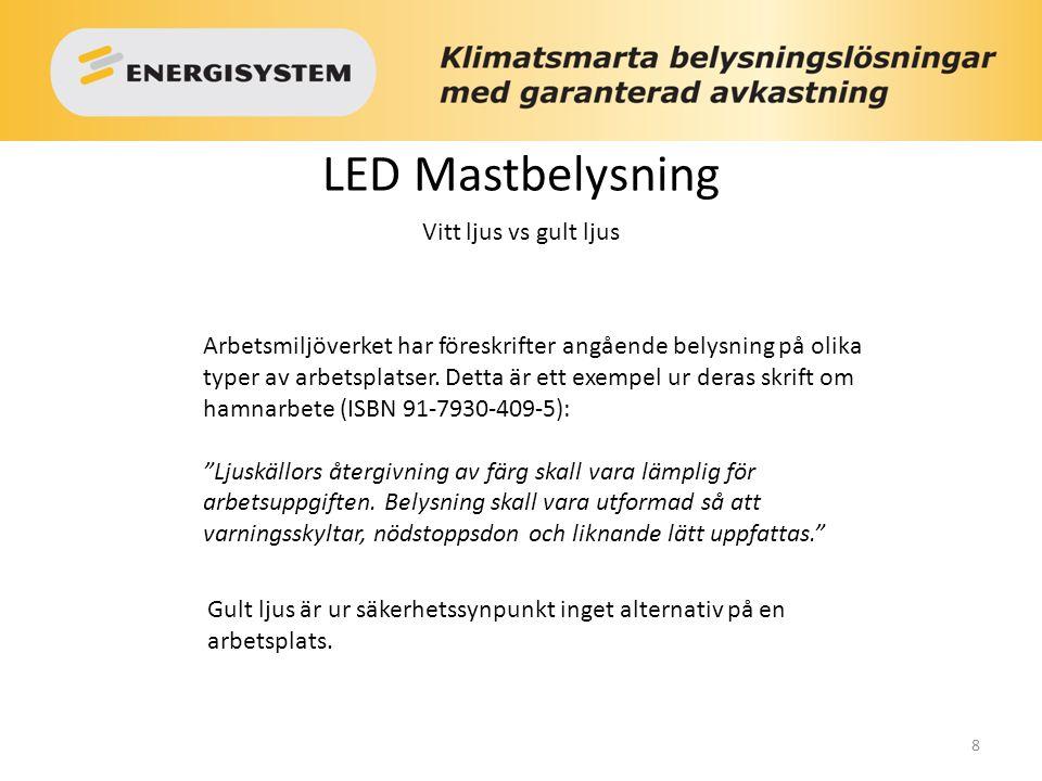 LED Mastbelysning Vitt ljus vs gult ljus