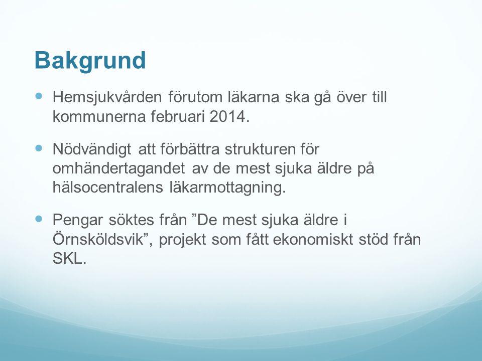 Bakgrund Hemsjukvården förutom läkarna ska gå över till kommunerna februari 2014.