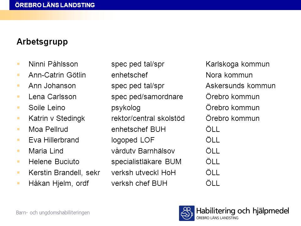 Arbetsgrupp Ninni Påhlsson spec ped tal/spr Karlskoga kommun