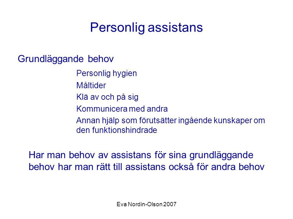 Personlig assistans Grundläggande behov Personlig hygien