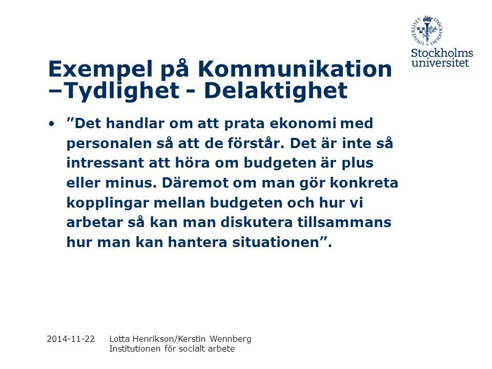 Exempel på Kommunikation –Tydlighet - Delaktighet