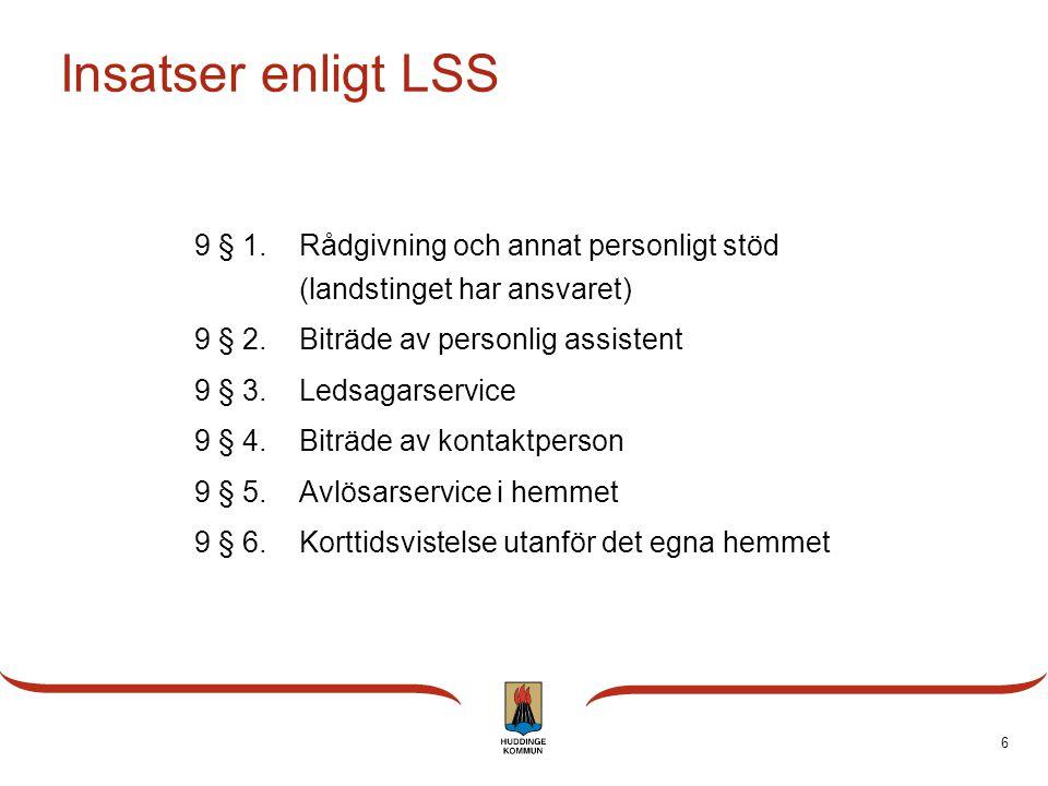 Insatser enligt LSS 9 § 1. Rådgivning och annat personligt stöd (landstinget har ansvaret) 9 § 2. Biträde av personlig assistent.