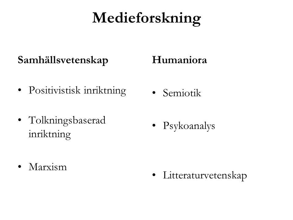 Medieforskning Samhällsvetenskap Positivistisk inriktning