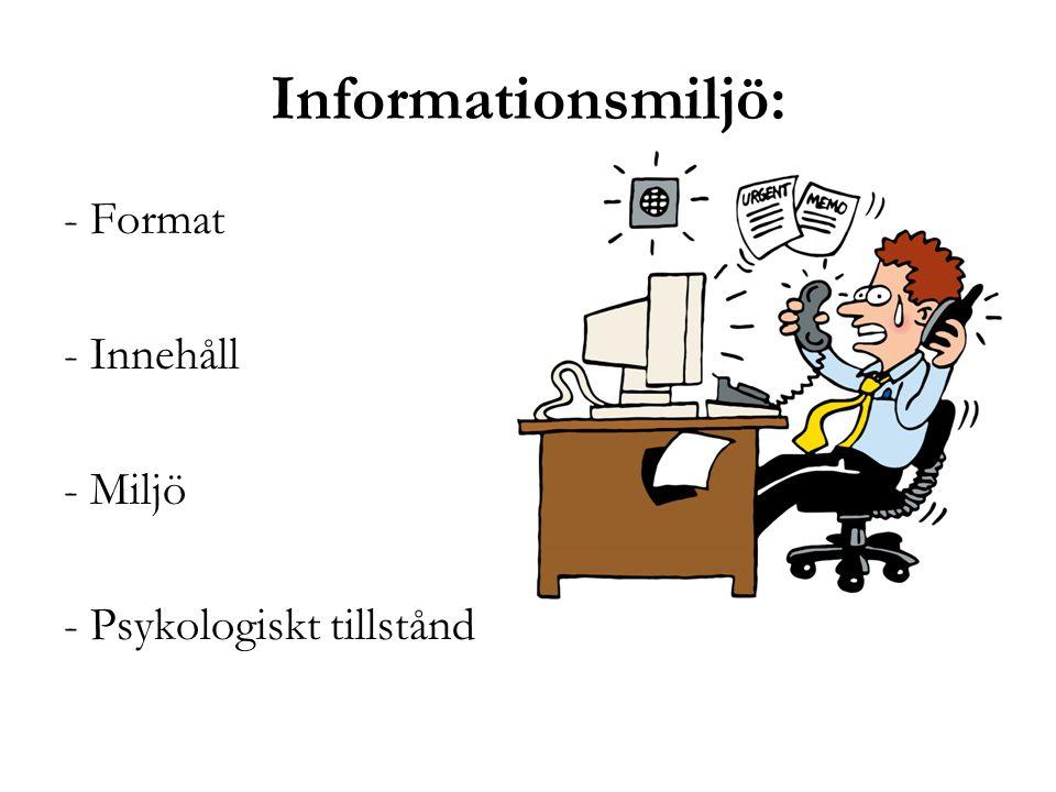 Informationsmiljö: - Format - Innehåll - Miljö