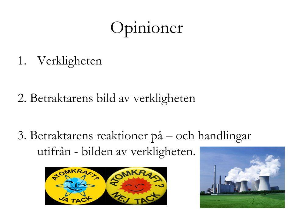 Opinioner Verkligheten 2. Betraktarens bild av verkligheten