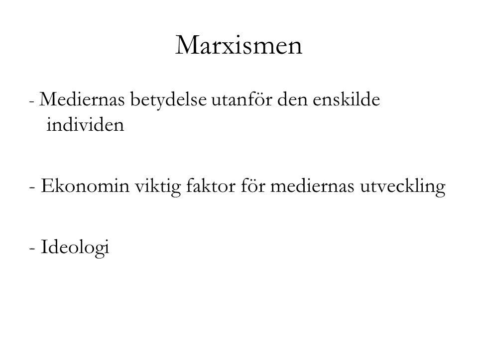 Marxismen - Ekonomin viktig faktor för mediernas utveckling - Ideologi