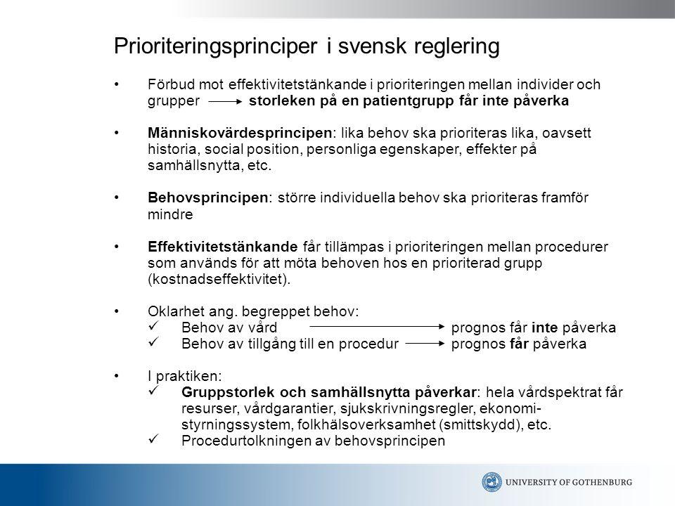 Prioriteringsprinciper i svensk reglering