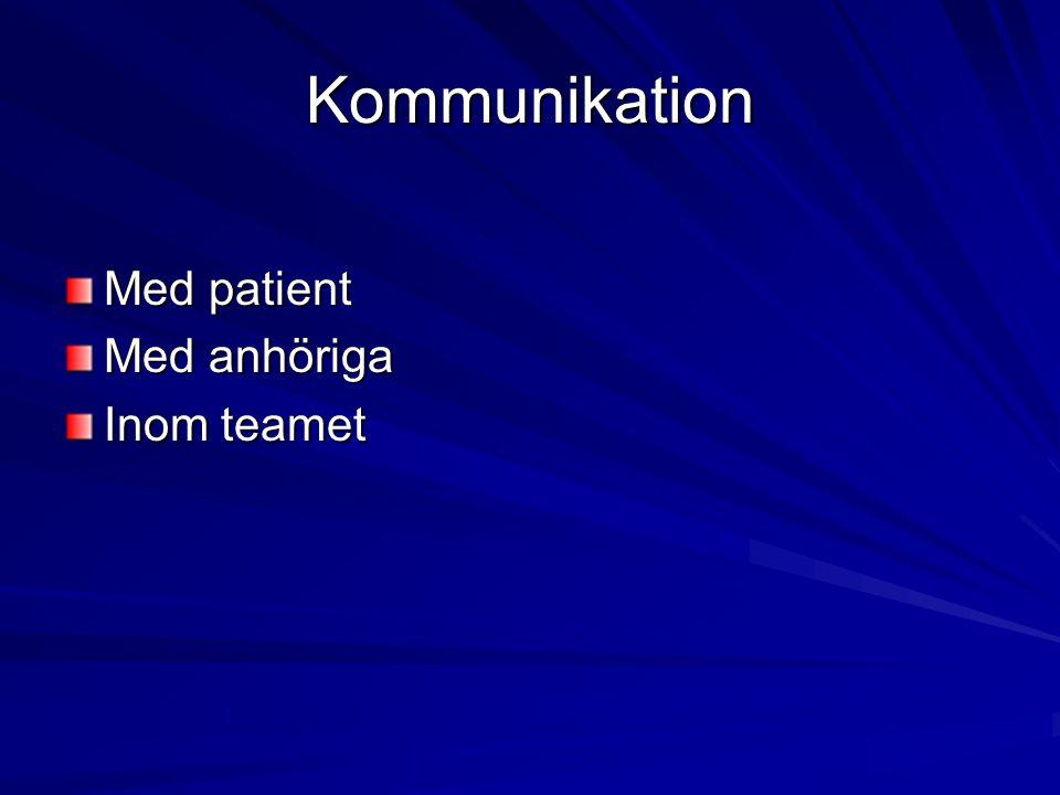 Kommunikation Med patient Med anhöriga Inom teamet