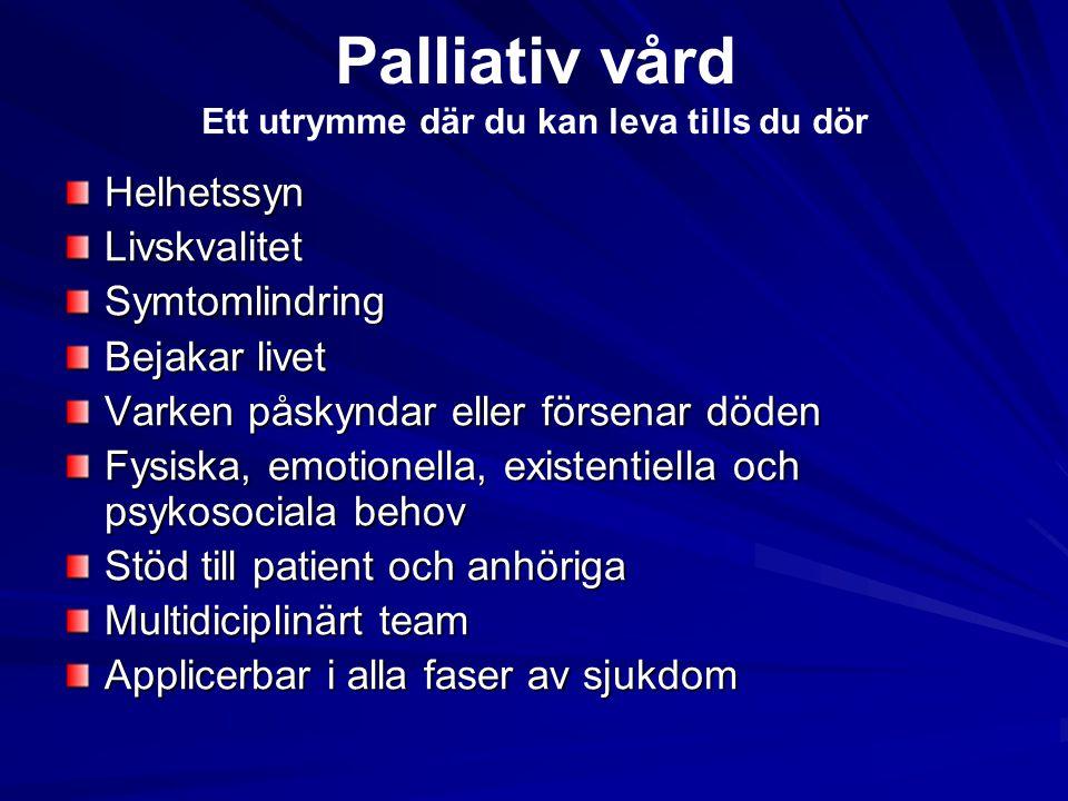 Palliativ vård Ett utrymme där du kan leva tills du dör