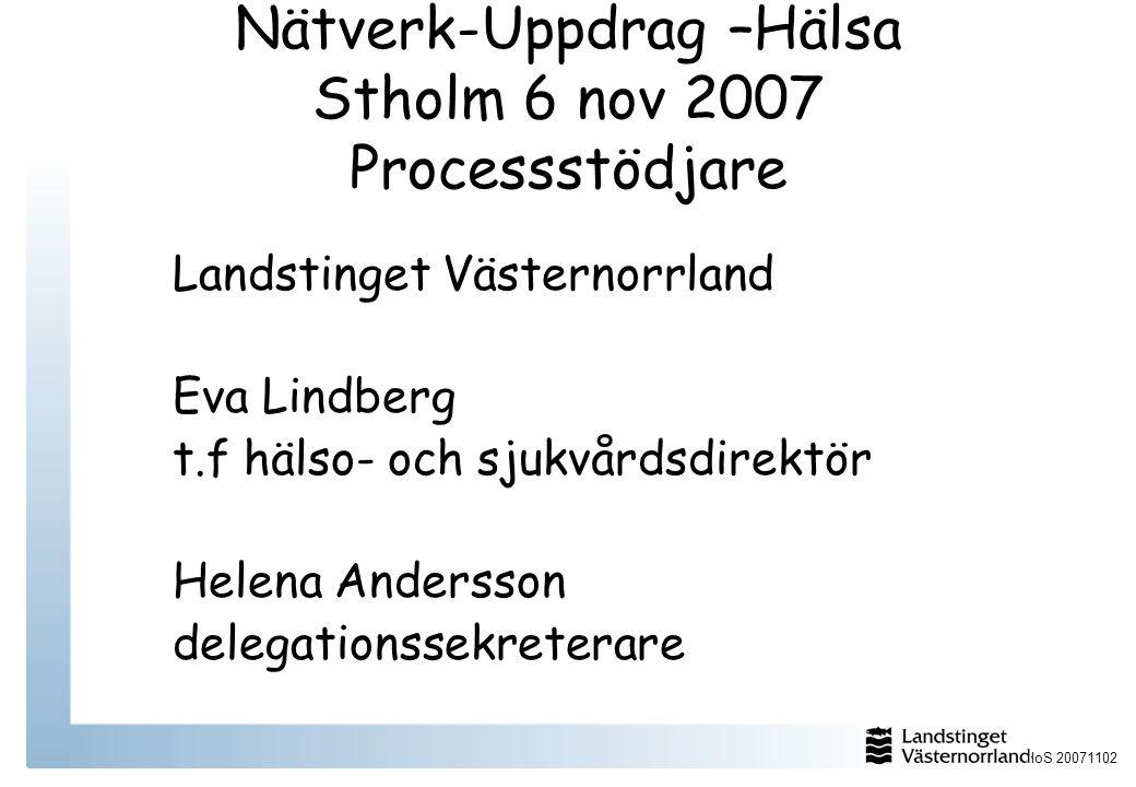 Nätverk-Uppdrag –Hälsa Stholm 6 nov 2007 Processstödjare