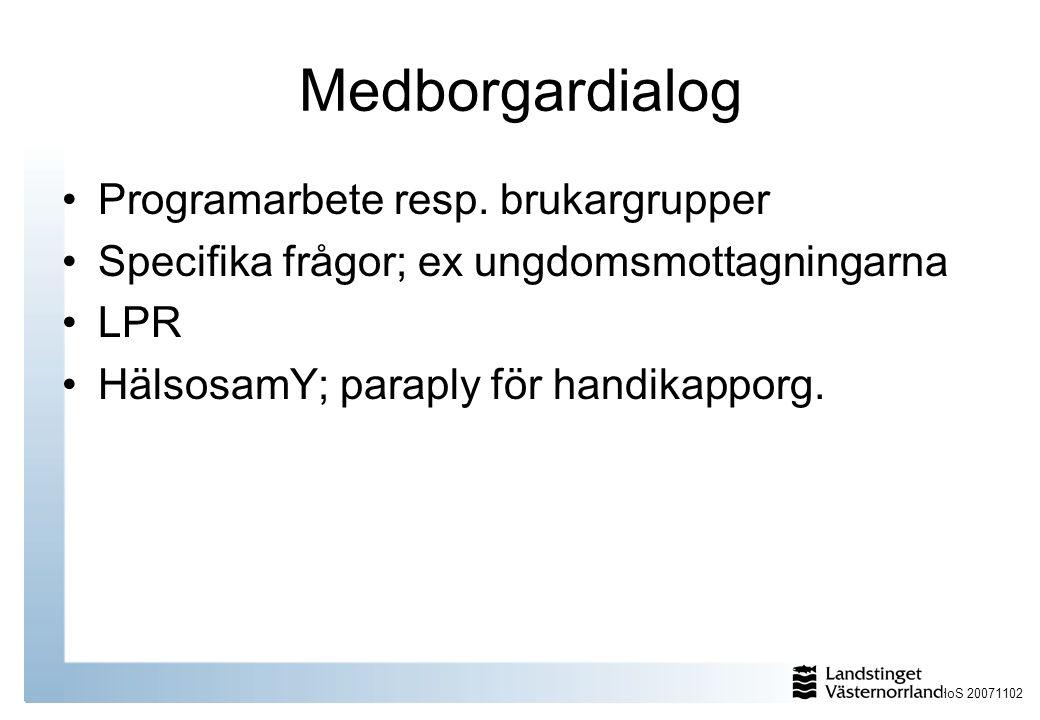 Medborgardialog Programarbete resp. brukargrupper