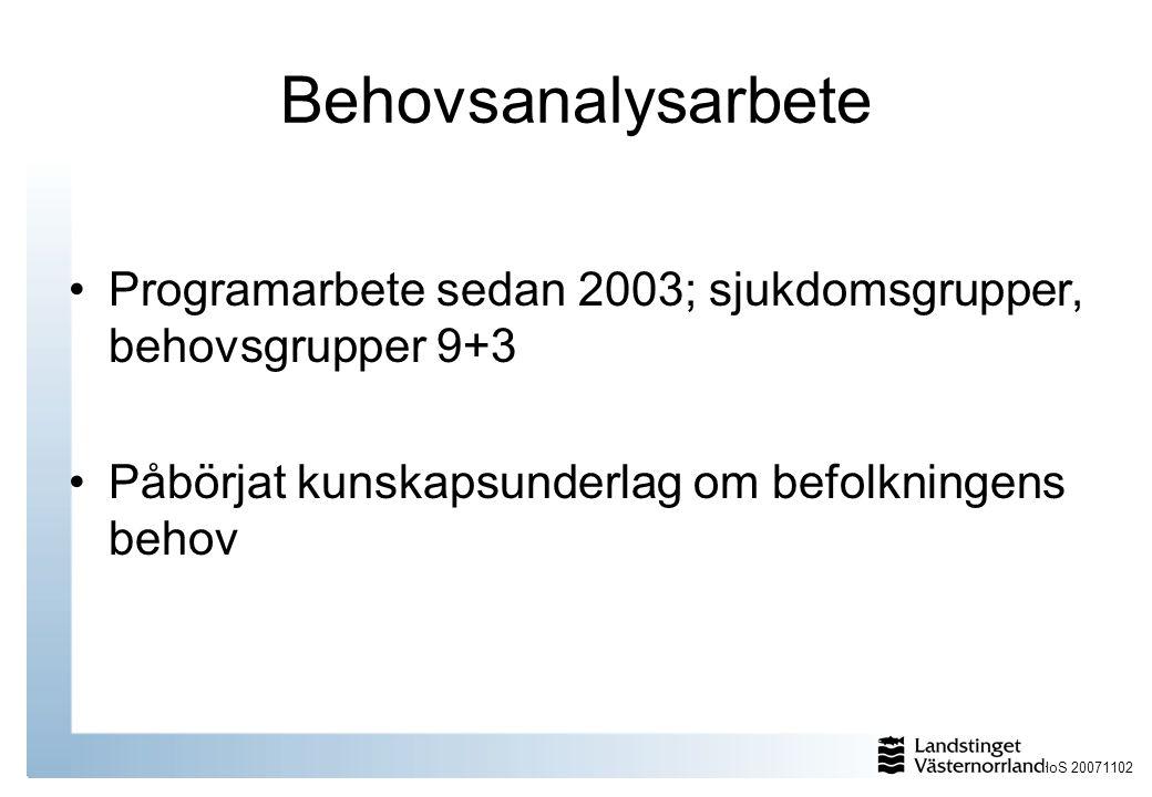 Behovsanalysarbete Programarbete sedan 2003; sjukdomsgrupper, behovsgrupper 9+3.