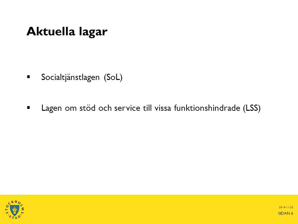 Aktuella lagar Socialtjänstlagen (SoL)