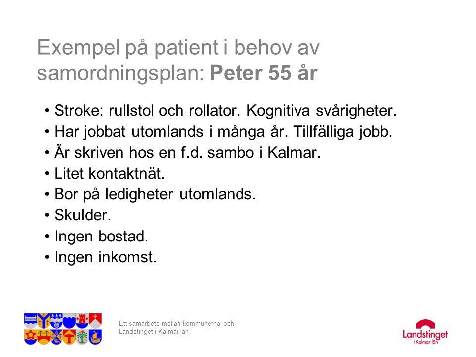 Exempel på patient i behov av samordningsplan: Peter 55 år