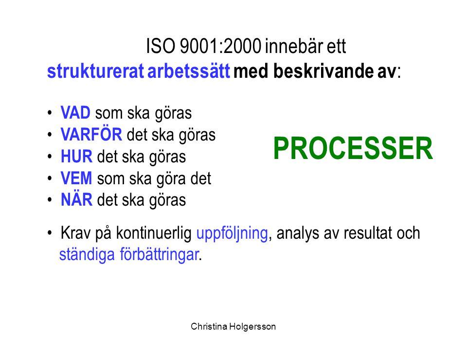 PROCESSER ISO 9001:2000 innebär ett
