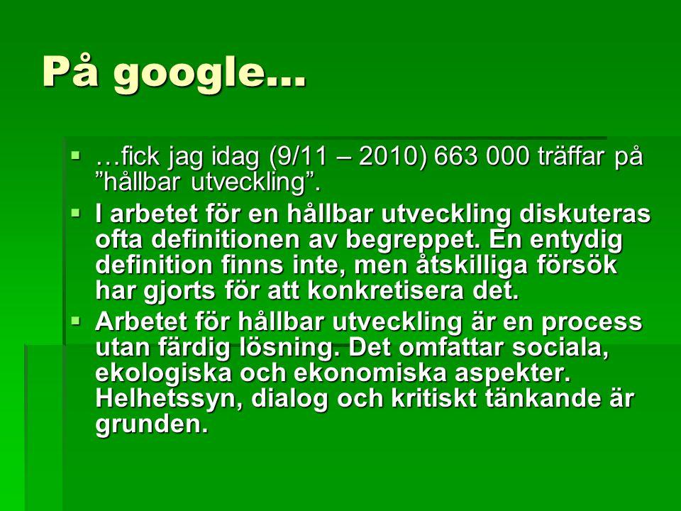 På google… …fick jag idag (9/11 – 2010) 663 000 träffar på hållbar utveckling .