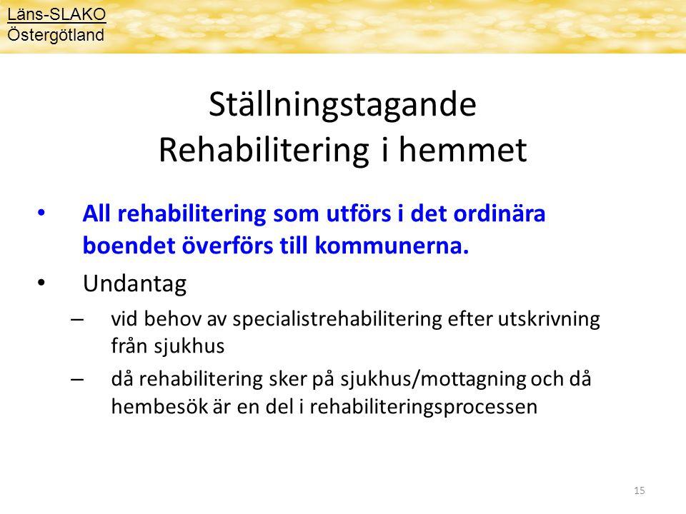 Ställningstagande Rehabilitering i hemmet
