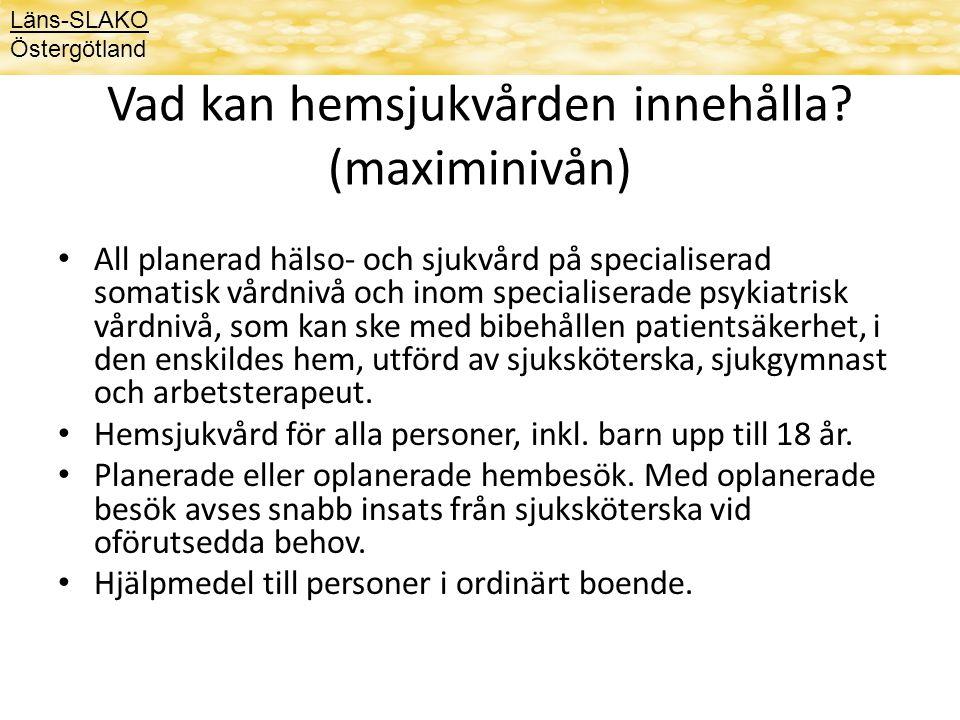 Vad kan hemsjukvården innehålla (maximinivån)