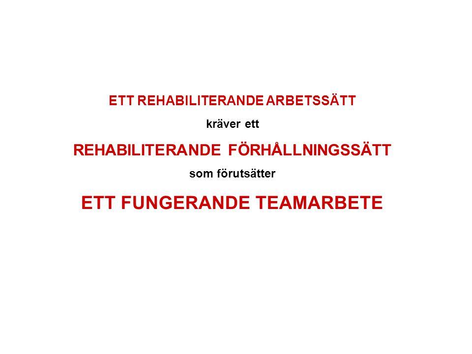 ETT REHABILITERANDE ARBETSSÄTT ETT FUNGERANDE TEAMARBETE