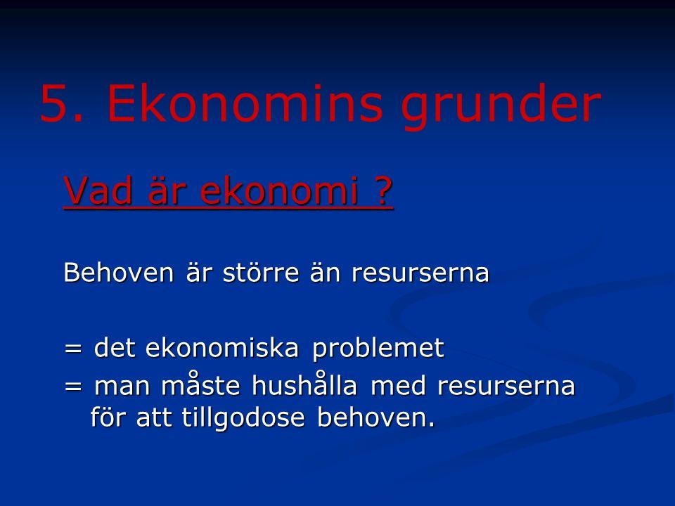 5. Ekonomins grunder Vad är ekonomi Behoven är större än resurserna