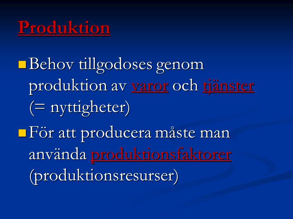 Produktion Behov tillgodoses genom produktion av varor och tjänster (= nyttigheter)