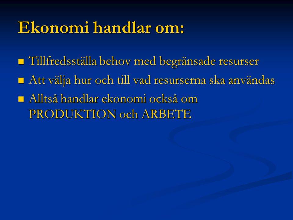 Ekonomi handlar om: Tillfredsställa behov med begränsade resurser