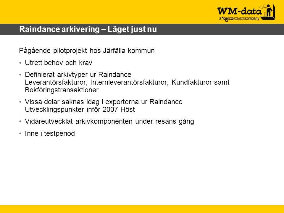 Raindance arkivering – Läget just nu