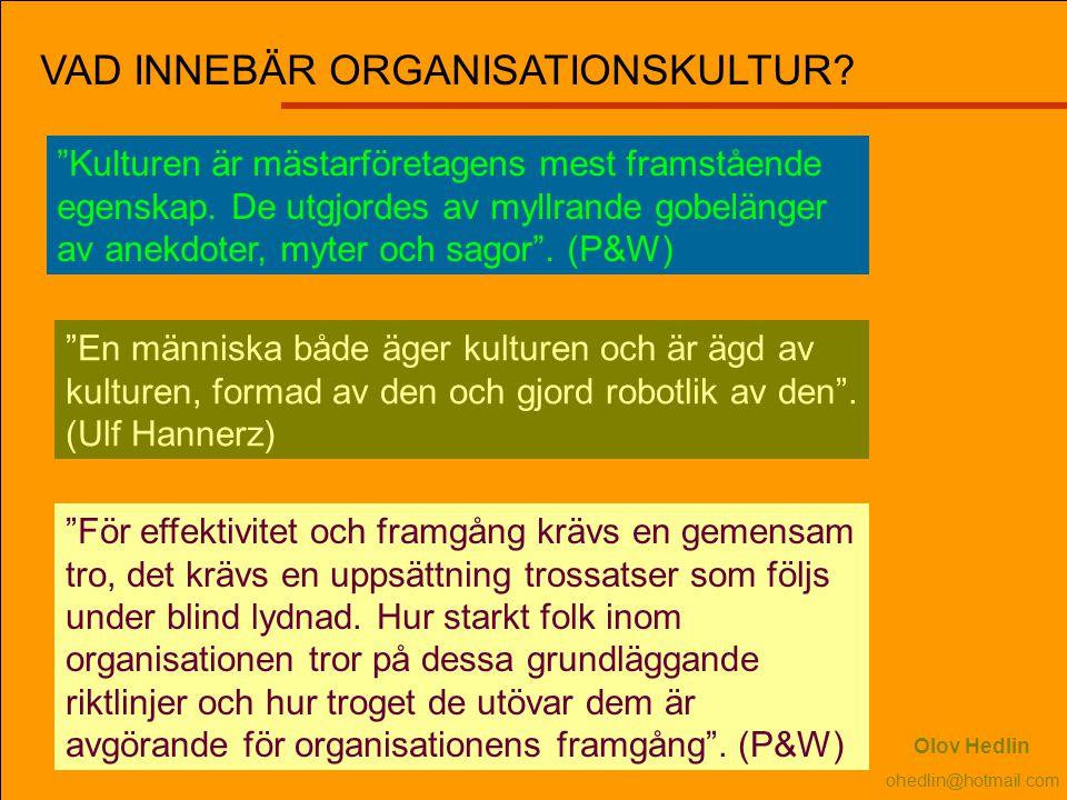 VAD INNEBÄR ORGANISATIONSKULTUR